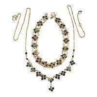 Genuine Sapphire Necklace Bracelet Set 18k Gold Etruscan Bezel Set Sapphire Gemstone Chain