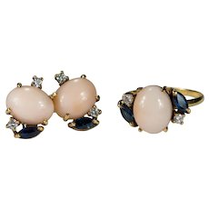 Natural Coral Sapphire Diamond Set 18k Gold Coral Ring Screw Back Stud Earrings