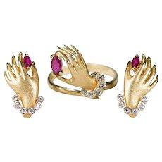 Ruby Diamond Hand Ring Earrings Set 14k Gold 1.15ctw