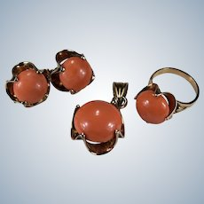 Natural Pink Coral Set 14k Rose Gold Coral Pendant Earrings Ring