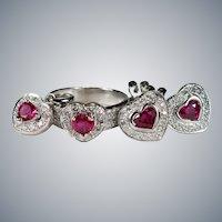 Genuine Ruby Heart Diamond Set 18k 5.20ctw Pierced Stud Earrings Ring Pendant