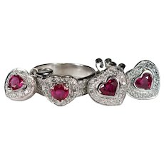 Genuine Ruby Heart Diamond Set 18k 5.20ctw Pierced Stud Earrings Ring Pendant