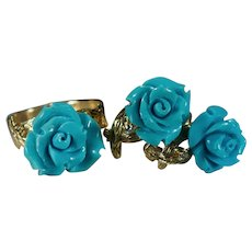 Carved Persian Turquoise Diamond Rose Jewelry Set 14k Gold Roses Ring Earrings