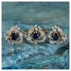 Art Deco Diamond Sapphire Jewelry Set 14k Gold Ring Earrings Pierced Post Studs