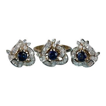 Art Deco Diamond Sapphire Jewelry Set 14k Gold Ring Earrings Pierced Post Studs