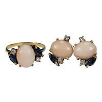 Natural Coral Sapphire Diamond Jewelry Set 18k Gold Ring Earrings Pierced Post Screw Back Studs