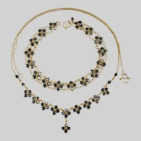 Sapphire Necklace Bracelet Set 18k Gold Bezel Set Sapphire Gemstone Chain