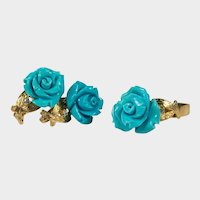 Hand Carved Persian Turquoise Rose Set 14k Gold Turquoise Roses Diamond Ring Earrings