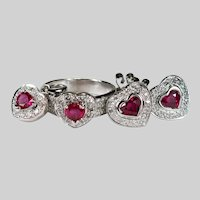 Ruby Hearts Diamond Set 3.52ctw 18k Gold Ruby Heart Stud Earrings Ring Pendant Parure