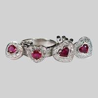 Ruby Hearts Diamond Set 3.52ctw 18k Gold Ruby Heart Stud Earrings Ring Pendant Parure