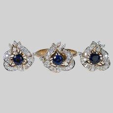 Art Nouveau Sapphire Diamond Ring Earring Set 3.50ctw 14k Gold