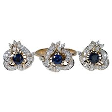 Art Nouveau Sapphire Diamond Ring Earring Set 3.50ctw 14k Gold