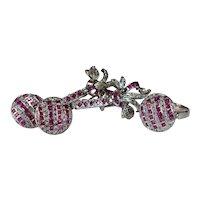 Ruby Diamond Earrings Ring Set 7.15ctw 10k White Gold