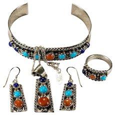 Navajo Running Bear Parure 925 Sterling Lapis Turquoise Coral Earrings Pendant Ring Bracelet Chain