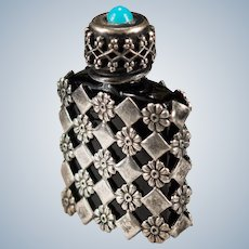 Art Deco Turquoise French Black Glass Perfume Bottle Sterling Pansy Checker Board