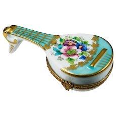 Beautiful Limoges Hand Painted Gold Leaf Mandolin Guitar Trinket Box