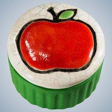 Rare Smoked Raku Sport Glazing Apple Pie Plate Signed 1976 Enesco Trinket Box