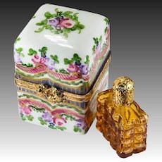 Limoges France Amber Perfume Bottle Trinket Box Peint Main Roses Two Bottle