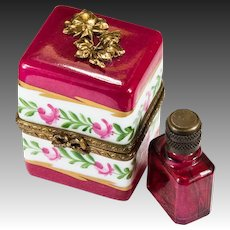 Roses And Bows Ruby Red Perfume Bottle Limoges France Peint Main Trinket Box
