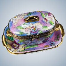 Limoges Trinket Box Tray Combination Hand Painted Iris Flowers Gold Leaf