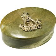 Victorian 12k Gold Over Silver British Empire Emblem Hand Carved Connemara Marble Desk Trinket Box
