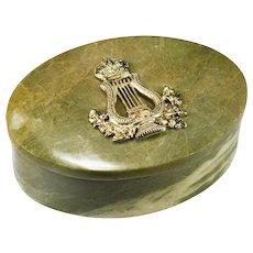 Victorian 12k Gold Over Silver British Empire Emblem Hand Carved Connemara Marble Desk Trinket Box