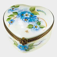 Limoges France Forget Me Not Bluebell Flower Hand Painted Signed Trinket Box Signed MC