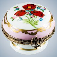 Limoges France Limited Edition Numbered Hand Painted Poppy Forget Me Not Flower Gold Pedestal Trinket Box