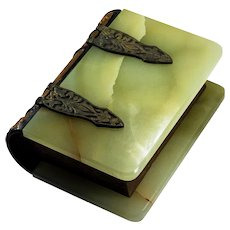 Antique Green Onyx Bronze Secret Storage Book Trinket Box