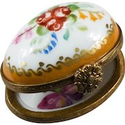 Limoges Hand Painted Trinket Box Butterfly Flowers Egg