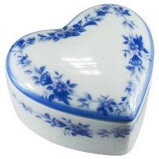 Blue Flower Wreath Limoges Heart Trinket Box