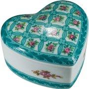 Gorgeous Turquoise Rose Heart Porcelaine De Paris Trinket Box