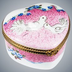 Limoges Heart Doves Wedding Hand Painted Trinket Box
