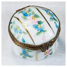 Limoges Peint Main Flowers Gold Octagon Brass Gold Trinket Box