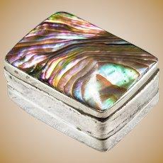 Vintage Abalone Shell Sterling Trinket Pill Box
