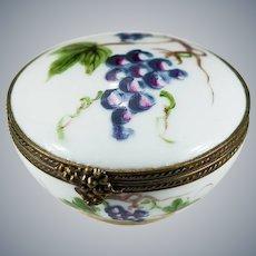 Limoges Grapes Trinket Box Signed Peint Main 1948