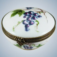 Limoges Grapes Trinket Box Signed Peint Main 1948