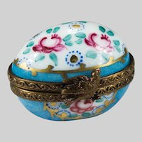 Limoges Hand Painted Trinket Box Bird Rose Flowers Limoges Egg Trinket