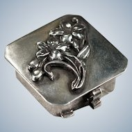 Hand Crafted Sterling Silver Daffodil Flower Pill Box Trinket Box