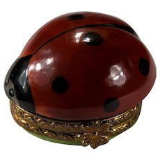 Limoges Ladybug Hand Painted Ladybug Trinket Box Signed Numbered