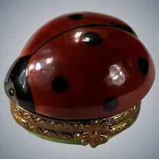 Limoges Ladybug Hand Painted Ladybug Trinket Box Signed Numbered