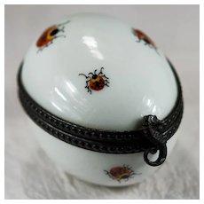 Limoges Hand Painted Ladybug Sea Horse Egg Trinket Box Signed MC