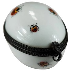 Limoges Hand Painted Ladybug Sea Horse Egg Trinket Box Signed MC