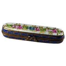 Limoges France Trinket Box Pin Box Hand Painted Large Trinket