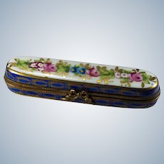 Limoges France Trinket Box Pin Box Hand Painted Large Trinket