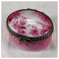 Limoges Hand Painted Pink Barn Trinket Box
