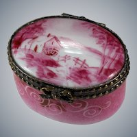 Limoges Hand Painted Pink Barn Trinket Box