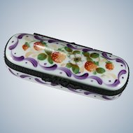 Limoges Rochard Strawberry Hand Painted Trinket Pin Box Signed MC