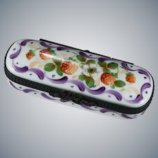 Limoges Rochard Strawberry Hand Painted Trinket Pin Box Signed MC