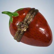 Limoges Strawberry Trinket Box Signed France Peint Main PV